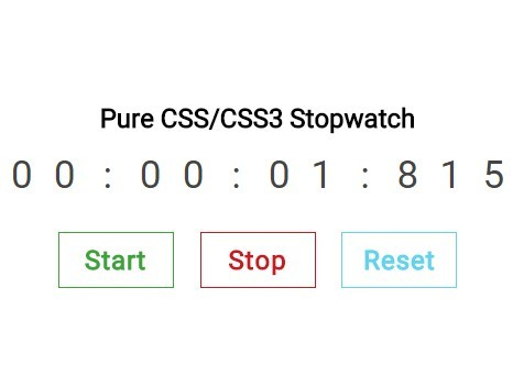 Create A Stopwatch Using Radios and Pure CSS / CSS3