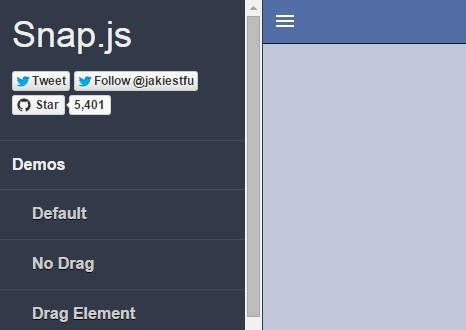 JavaScript Library For Creating App Style Side Menus – Snap.js