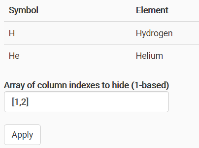 JavaScript Library To Show / Hide Table Columns