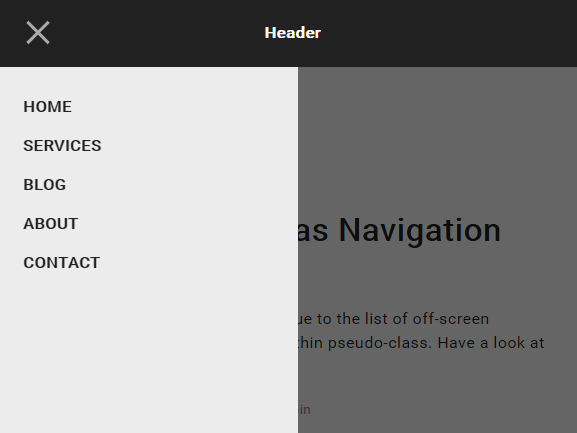 CSS Only Off-canvas Navigation Using CSS Pseudo-class