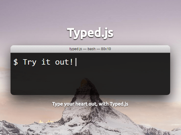 Highly Configurable Text Typing Library – typed.js