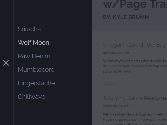 Off-canvas Side Navigation With Page Transitions