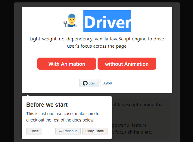Interactive Guide For Web App – Driver.js