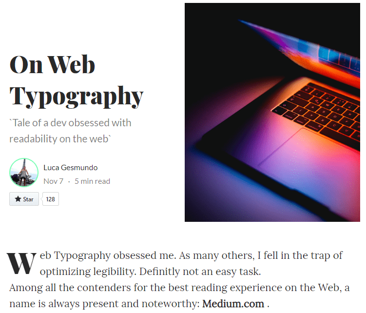 CSS Library For Medium.com Typography – medium.css