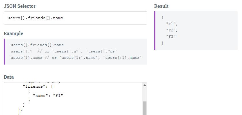 Retrieve Data from JSON – JSON Selector