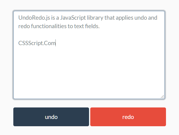 Undo/Redo And History In Text Field – UndoRedo.js