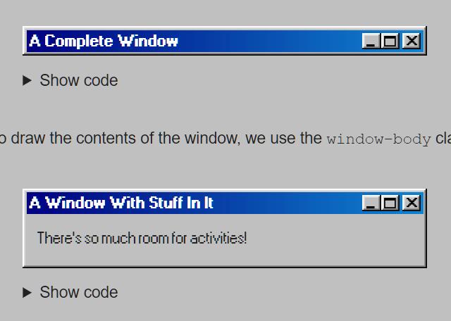Windows 98 CSS Framework – 98.css