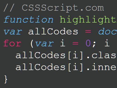 Tiny JavaScript Syntax Highlighter