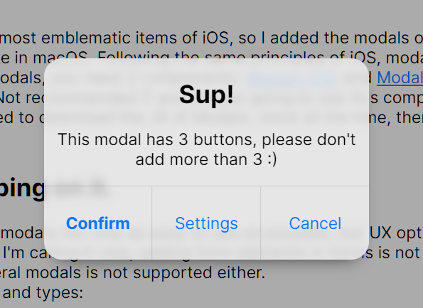 macOS Style UI Framework - Puppertino Modal Dialog