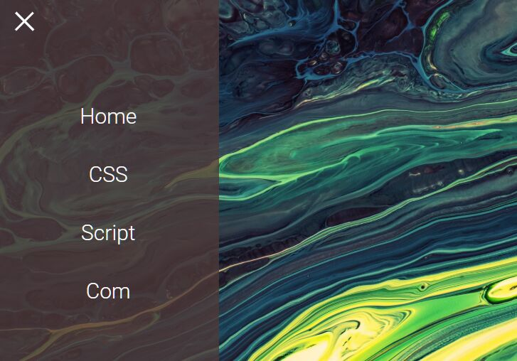 Minimal Hamburger Overlay Navigation Drawer In CSS