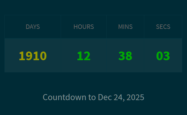 Count Down To A Date With Custom Until/End Messages – sv-countdown