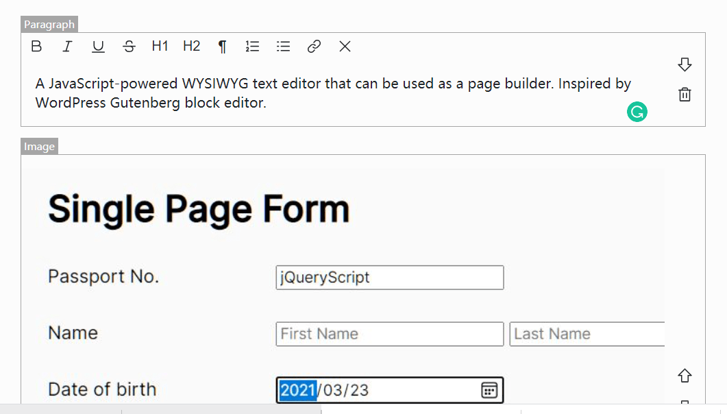 WordPress Gutenberg Like WYSIWYG Block Editor – Pexego