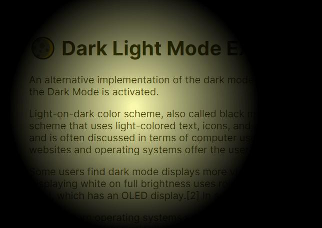 Spotlight Effect In JavaScript – Dark Light Mode