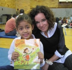 Kim and her Reading Buddy bonded over the adventures of a young Amelia Bedelia.