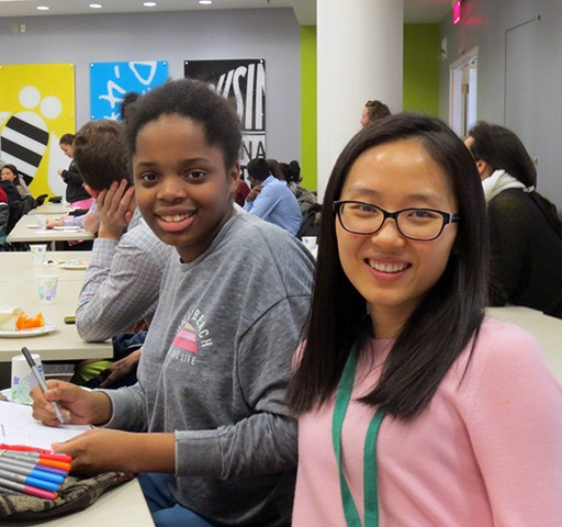 mentor in STEM in Cambridge with middle school student