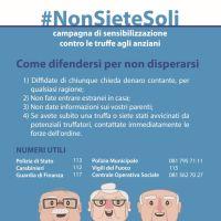 #Nonsietesoli, campagna di sensibilizzazione contro le truffe agli anziani