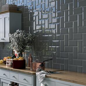 metro brick dark grey gloss bevelled tile 200x100mm