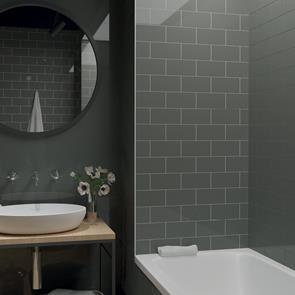 metro brick dark grey gloss tile 200x100mm