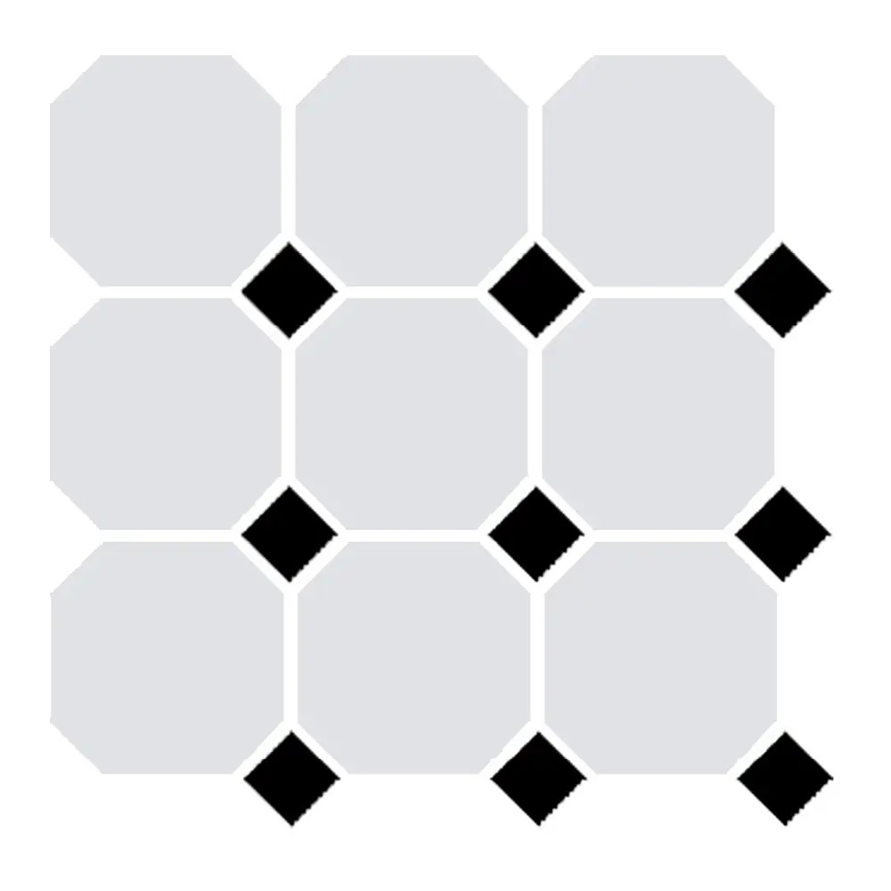 victorian white octagon and black dot tile 96x96mm sheet 300x300mm