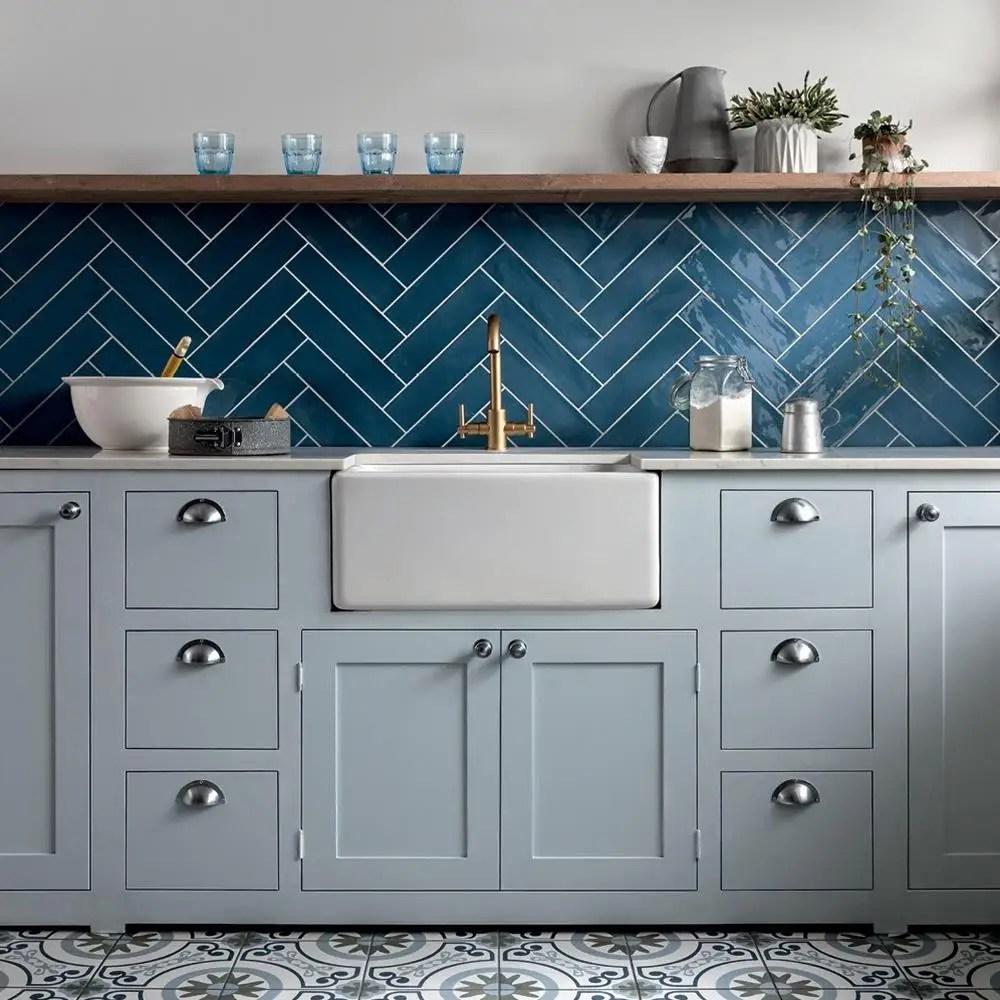 poitiers azure blue gloss tile 300x75mm
