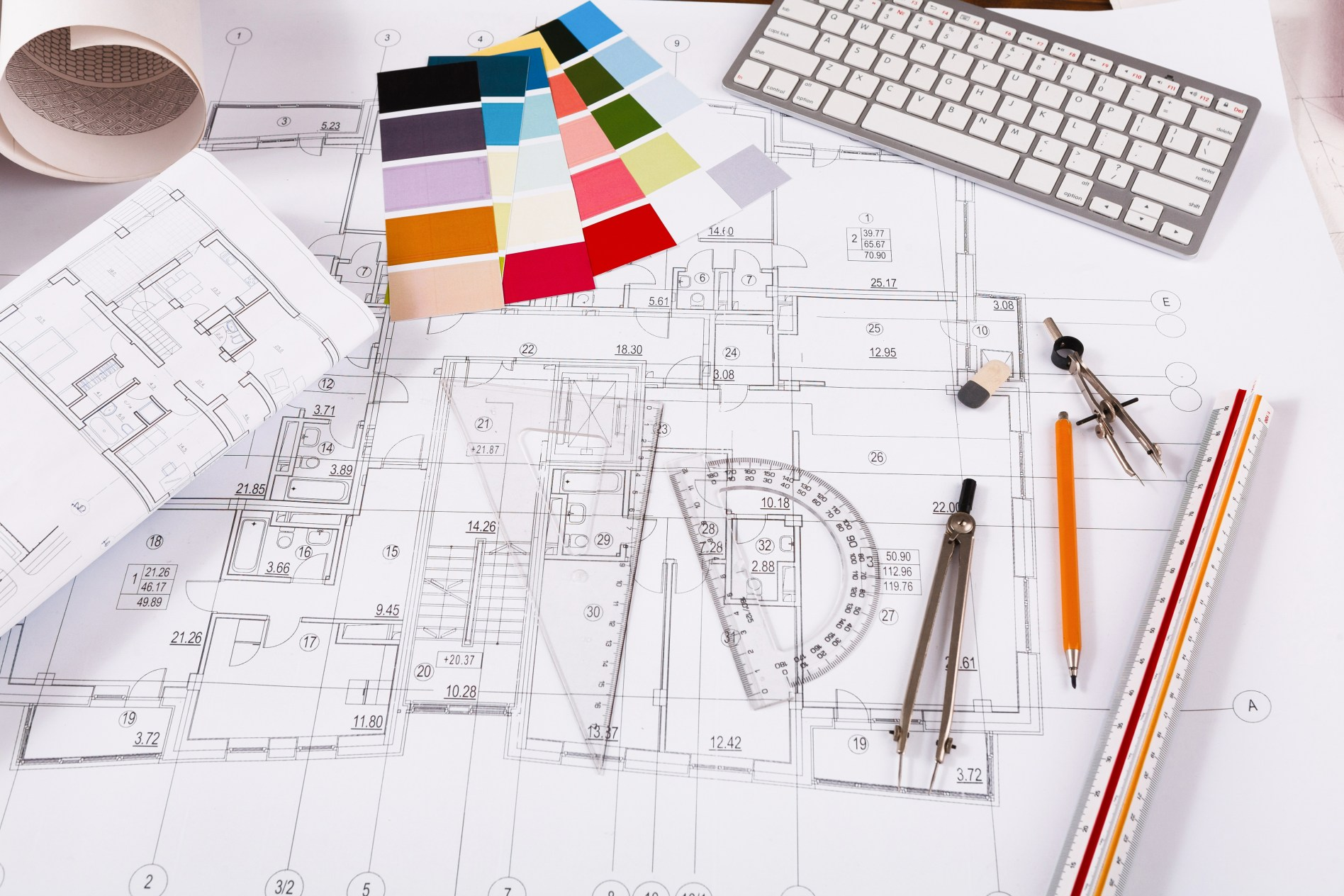 Workplace of architect. Engineering tools for creating new architectural project on table.