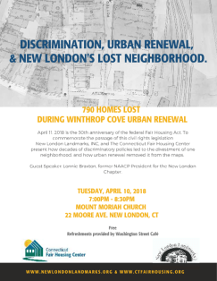 Flyer for educational event on New London's Lost Neighborhood, set for April 10th at 7pm at Mount Moriah Church in New London, CT.