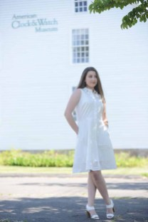 At the American Clock and Watch Museum in Bristol, Conn., Taylor Plourd enjoys the sun. She is dressed in white garments, perfect for Saturday's White Night Bristol. The clothes were provided by Simply Vera Vera Wang and Princess Vera Wang, all available at Kohl's (Kohls.com). (Make up by Brittany Monico Martin of Forever Flawless Artistry.)