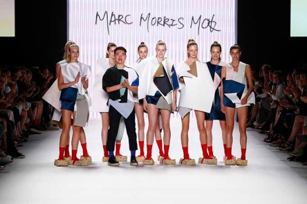 BERLIN, GERMANY - JUNE 30: Marc Morris Mok and models acknowledge the applause of the audience after the fashion talent award 'Designer for Tomorrow' by Peek & Cloppenburg and Fashion ID hosted by Alber Elbaz during the Mercedes-Benz Fashion Week Berlin Spring/Summer 2017 at Erika Hess Eisstadion on June 30, 2016 in Berlin, Germany. (Photo by Frazer Harrison/Getty Images for P&C and Fashion ID) *** Local Caption *** Marc Morris Mok