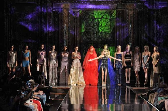 NEW YORK, NY - SEPTEMBER 13: Designer Lisseth Corrao poses on the runway with her models at Art Hearts Fashion NYFW The Shows presented by AIDS Healthcare Foundation at The Angel Orensanz Foundation on September 13, 2016 in New York City. (Photo by Arun Nevader/Getty Images for Art Hearts Fashion)