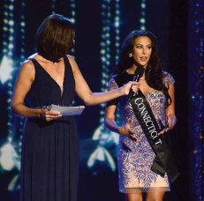 Alyssa Taglia, Miss Connecticut, during the Onstage Question at Wednesday's preliminary competition for Miss America.