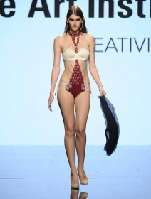 LOS ANGELES, CA - OCTOBER 12: A model walks the runway wearing Debra Corrales at Art Hearts Fashion Los Angeles Fashion The Art Institutes Showcase on October 12, 2016 in Los Angeles, California. (Photo by Arun Nevader/Getty Images for Art Hearts Fashion)