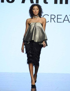 LOS ANGELES, CA - OCTOBER 12: A model walks the runway wearing Patrick Kevin Francisco at Art Hearts Fashion Los Angeles Fashion The Art Institutes Showcase on October 12, 2016 in Los Angeles, California. (Photo by Arun Nevader/Getty Images for Art Hearts Fashion)