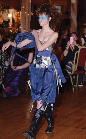 A garment from Midnight Orchid is worn on the runway at last year's fashion show held at the Brass Ring Academy and Cabaret held at the New England Carousel Museum in Bristol. The Academy and Cabaret return Jan. 7 and 8. (MIKE CHAIKEN PHOTO)