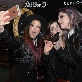PARIS, FRANCE - JANUARY 23: (L-R) Member of the Kat Von D Beauty artistry team Tara Buenrostro, Beauty influencer Elsamakeup and Member of the Kat Von D Beauty artistry Leah Carmichael attend the Kat Von D Beauty opening weekend with influencers at Sephora Champs-Elysees on January 23, 2017 in Paris, France. (Photo by Dominique Charriau/Getty Images for Sephora) *** Local Caption *** Sananas; thedollbeauty; Leah Carmichael