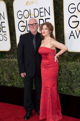 Malcolm McDowell and Bernadette Peters attend the 74th Annual Golden Globe Awards held at the Beverly Hilton Hotel on January 8, 2017.