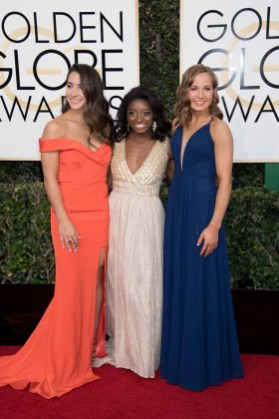 Aly Raisman, Gabby Douglas and Madison Kocian attends the 74th Annual Golden Globes Awards at the Beverly Hilton in Beverly Hills, CA on Sunday, January 8, 2017.