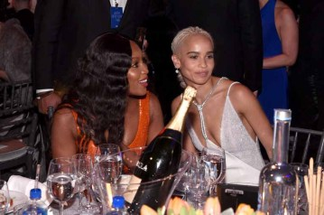 NEW YORK, NY - FEBRUARY 08: Naomi Campbell and Zoe Kravitz attend as Moet & Chandon Toasts to the amfAR New York Gala At Cipriani Wall Street at Cipriani Wall Street on February 8, 2017 in New York City. (Photo by Bryan Bedder/Getty Images for Moet & Chandon) *** Local Caption *** Naomi Campbell;Zoe Kravitz