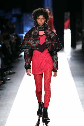 DESIGUAL_NYFW_AW17_ATWALK_LOOK 32..NEW YORK, NY - FEBRUARY 09:A model walks the runway at the Desigual show New York Fashion Week The Shows at Gallery 1, Skylight Clarkson Sq on February 9, 2017 in New York City.