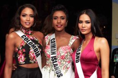 Andrea Tovar, Miss Colombia 2016; Monyque Brooks, Miss Cayman Islands 2016; and Chalita Suansane, Miss Thailand 2016; backstage during The 65th MISS UNIVERSE® Telecast airing on FOX at 7:00 PM ET live/PT tape-delayed on Sunday, January 29 from the Mall of Asia Arena. The contestants have been touring, filming, rehearsing and preparing to compete for the Miss Universe crown in the Philippines. HO/The Miss Universe Organization