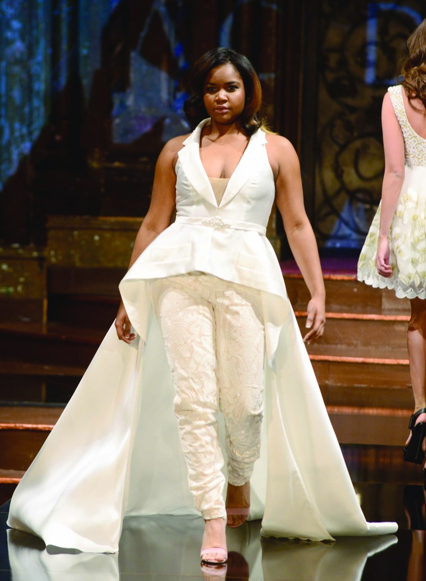 Slacks were an interesting feature in some of the prom looks offered by Mac Duggal at its February show in New York.
