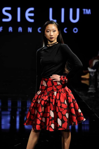BEVERLY HILLS, CA - MARCH 17: A model walks the runway wearing Jessie Liu at Art Hearts Fashion LAFW Fall/Winter 2017 - Day 4 at The Beverly Hilton Hotel on March 17, 2017 in Beverly Hills, California. (Photo by Arun Nevader/Getty Images)