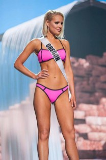 Liz Denny, Miss Oregon USA 2017, competes on stage in Yandy Swim during the MISS USA® Preliminary Competition at Mandalay Bay Convention Center on May 11, 2017. The Miss USA contestants have been touring, filming, rehearsing and preparing to compete for the Miss USA crown in Las Vegas, Nevada. Tune in to the FOX telecast at 8:00 PM ET live/PT tape-delayed on Sunday, May 14, from Mandalay Bay Resort and Casino Las Vegas to see who will become Miss USA. HO/The Miss Universe Organization