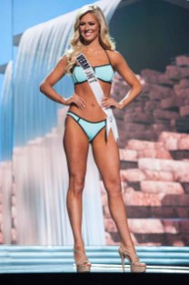 Madison Cota, Miss Vermont USA 2017, competes on stage in Yandy Swim during the MISS USA® Preliminary Competition at Mandalay Bay Convention Center on May 11, 2017. The Miss USA contestants have been touring, filming, rehearsing and preparing to compete for the Miss USA crown in Las Vegas, Nevada. Tune in to the FOX telecast at 8:00 PM ET live/PT tape-delayed on Sunday, May 14, from Mandalay Bay Resort and Casino Las Vegas to see who will become Miss USA. HO/The Miss Universe Organization