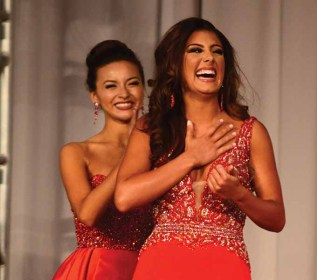 Miss Wolcott Alyssa Anderson hears she won the talent preliminary award at Miss Connecticut.
