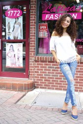 Sylvana Gonzalez in a pair of Colombian jeans from Latinas Fashion in Hartford and New Britain.