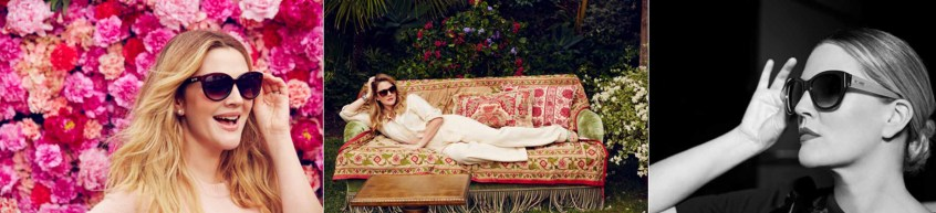 Drew Barrymore wearing the sunglasses she designed.