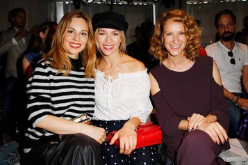 BERLIN, GERMANY - JULY 04: (L-R) Mina Tander, Julia Dietze and Chiara Schoras attend the Laurel show during the Mercedes-Benz Fashion Week Berlin Spring/Summer 2018 at Kaufhaus Jandorf on July 4, 2017 in Berlin, Germany. (Photo by Isa Foltin/Getty Images for Laurel) *** Local Caption *** Chiara Schoras;Mina Tander;Julia Dietze