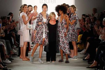 BERLIN, GERMANY - JULY 04: Designer Elisabeth Schwaiger acknowledges the applause of the audience at the runway at the Laurel show during the Mercedes-Benz Fashion Week Berlin Spring/Summer 2018 at Kaufhaus Jandorf on July 4, 2017 in Berlin, Germany. (Photo by Frazer Harrison/Getty Images for Laurel) *** Local Caption *** Elisabeth Schwaiger