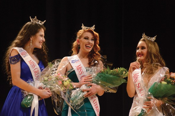The new Miss Greater Waterbury's Outstanding Teen Lindiana Frangu, left, Miss Greater Waterbury Danielle Radeke, and Miss Southbury Micayla Barrows wave to the crowd after they were crowned Sunday afternoon at Rotella Interdistrict Magnet School.