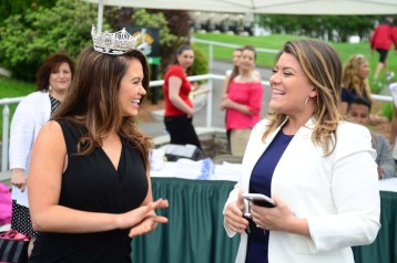 Miss America Cara Mund, left, meets New Britain Mayor Erin Stewart.